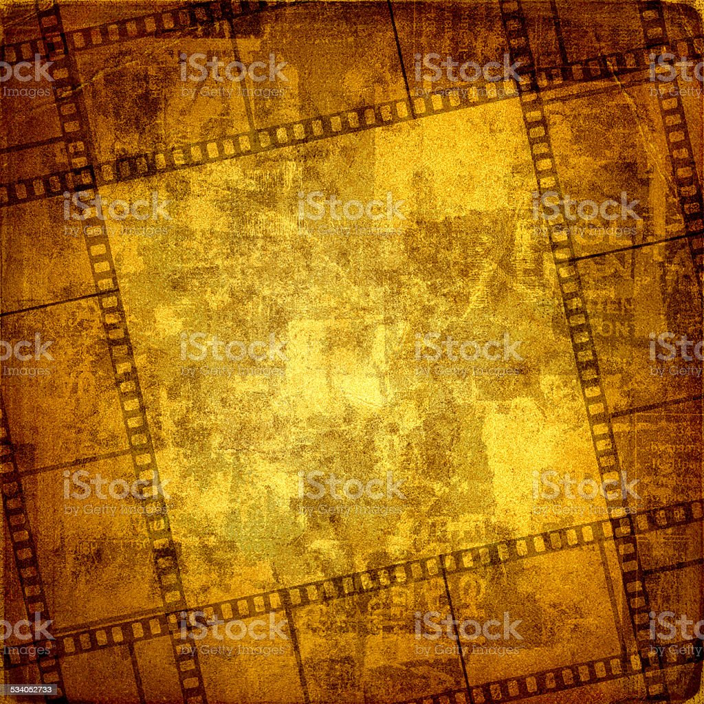 Old frame and grunge  filmstrip on the grunge background stock photo