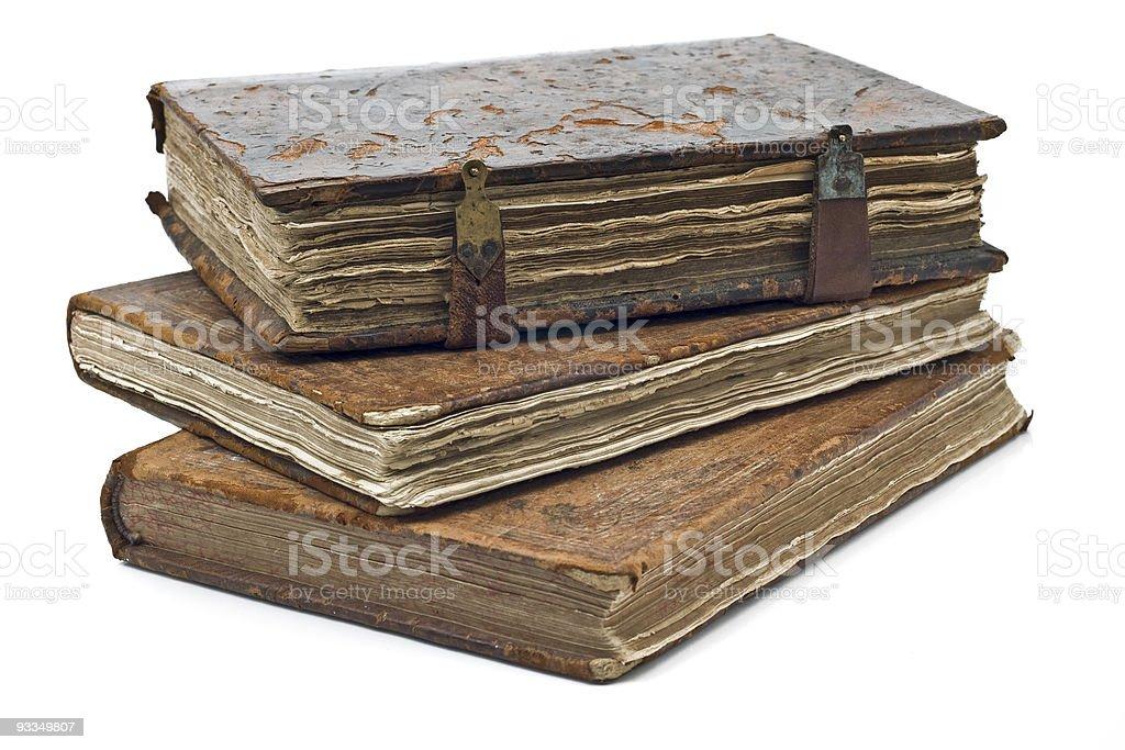 Old frayed books isolated royalty-free stock photo