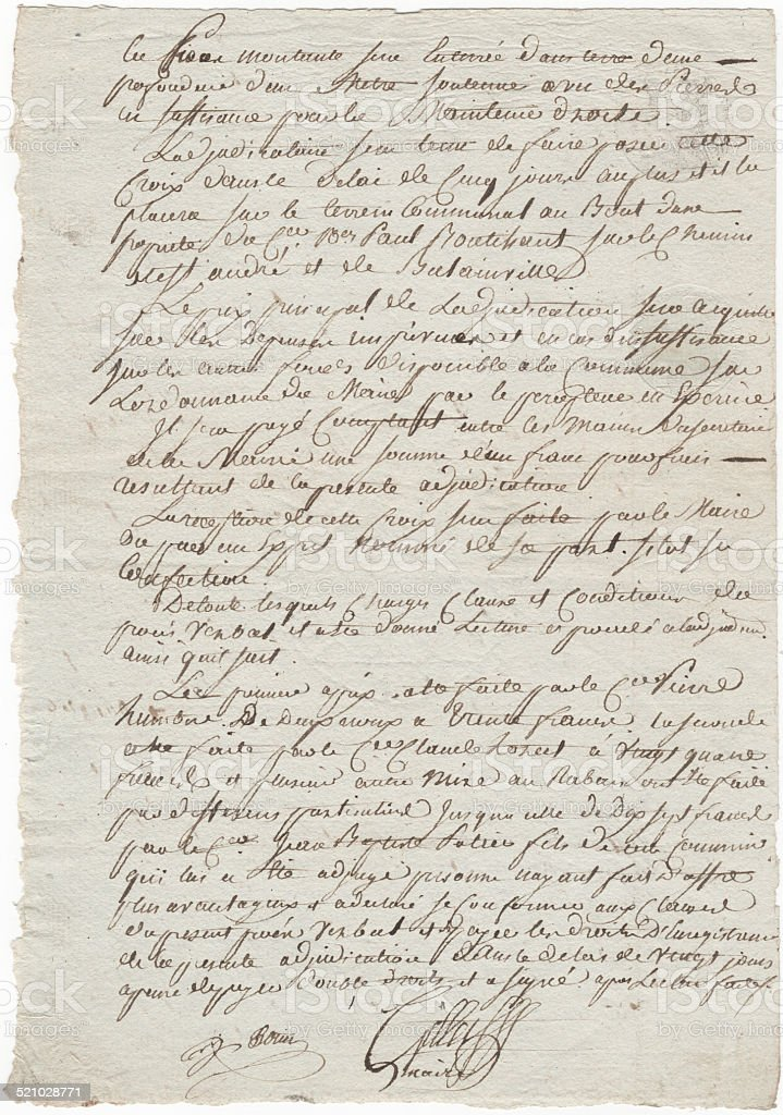 Old French 1819 Handwritten Document with Old Style Writing stock photo