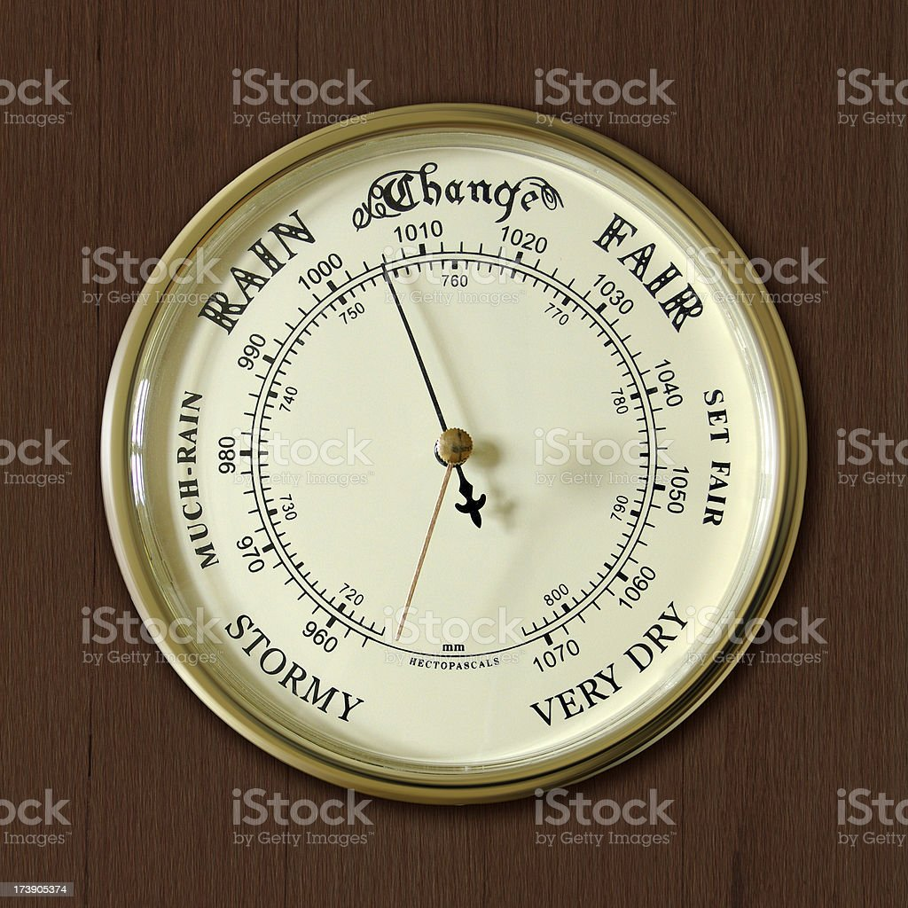 Old French Barometer on wooden background stock photo