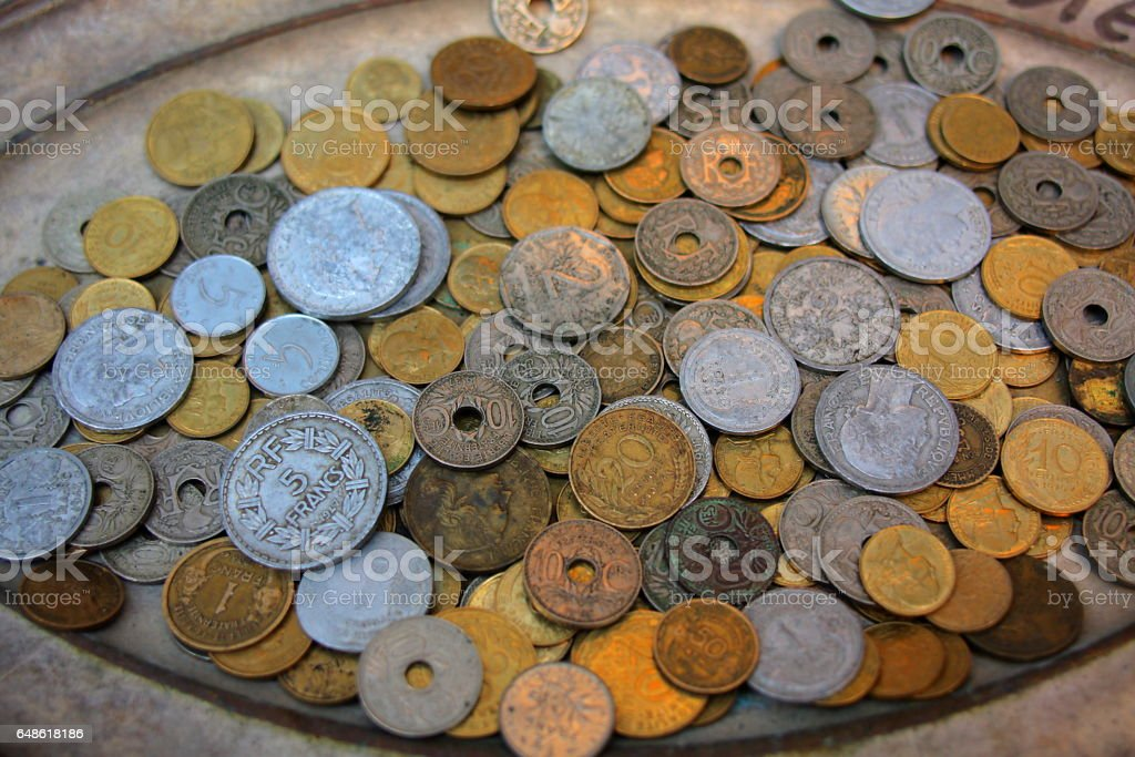 Old French coins stock photo