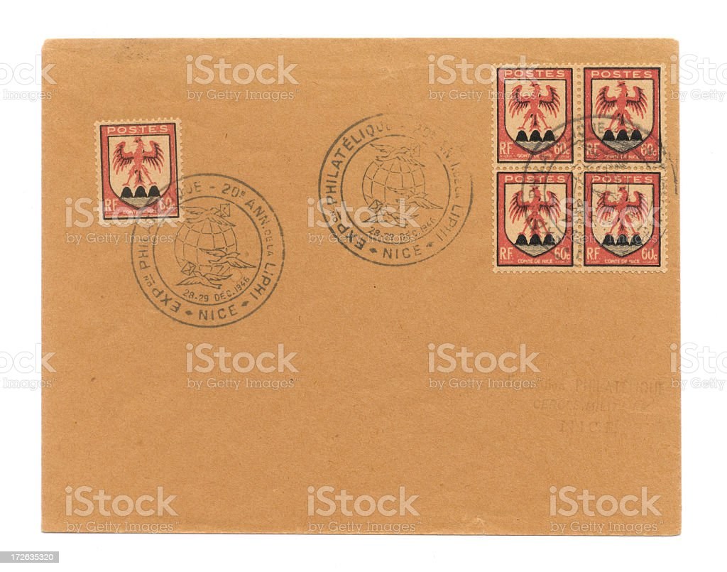 Old french envelope stock photo