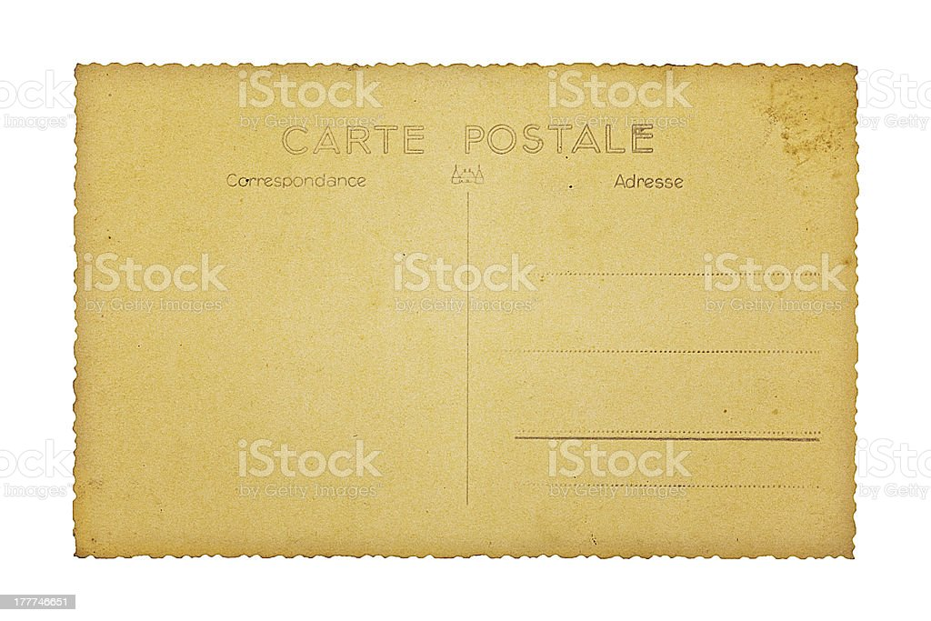 Old french postcard, isolated on white royalty-free stock photo