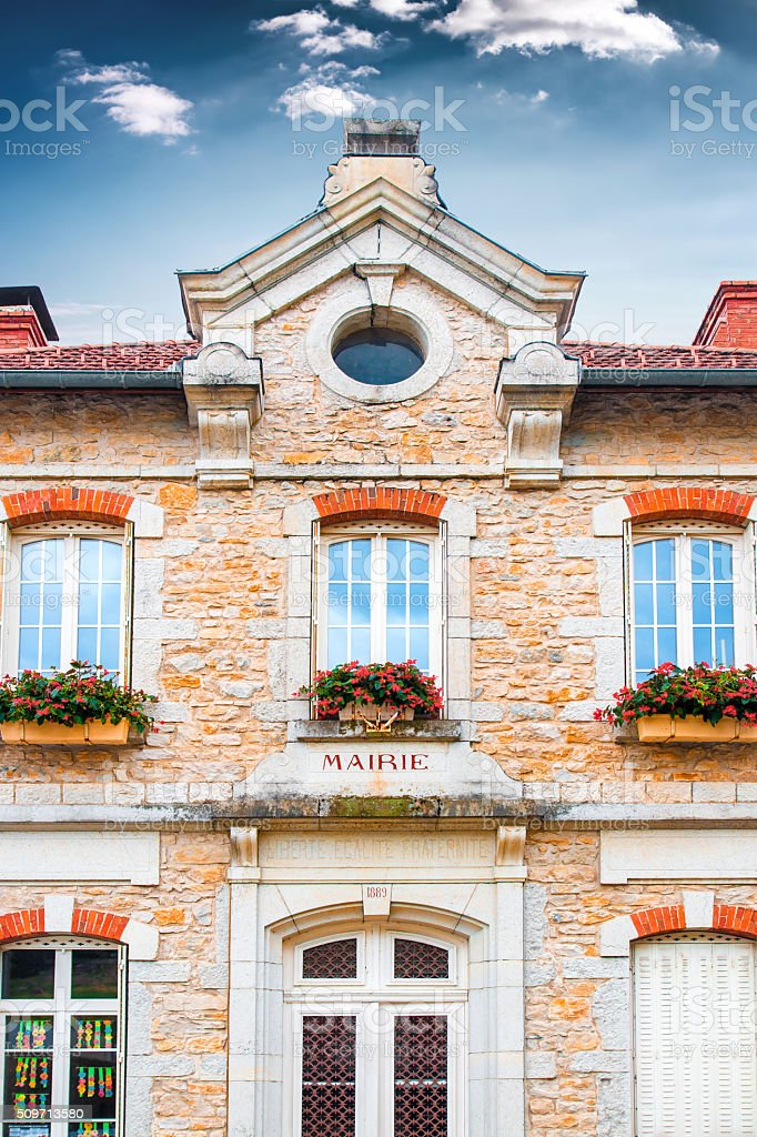 Old french town hall facade building in stone of 1889 stock photo