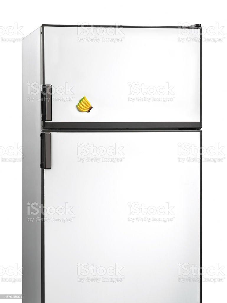 Old fridge with banana plastic magnet stock photo