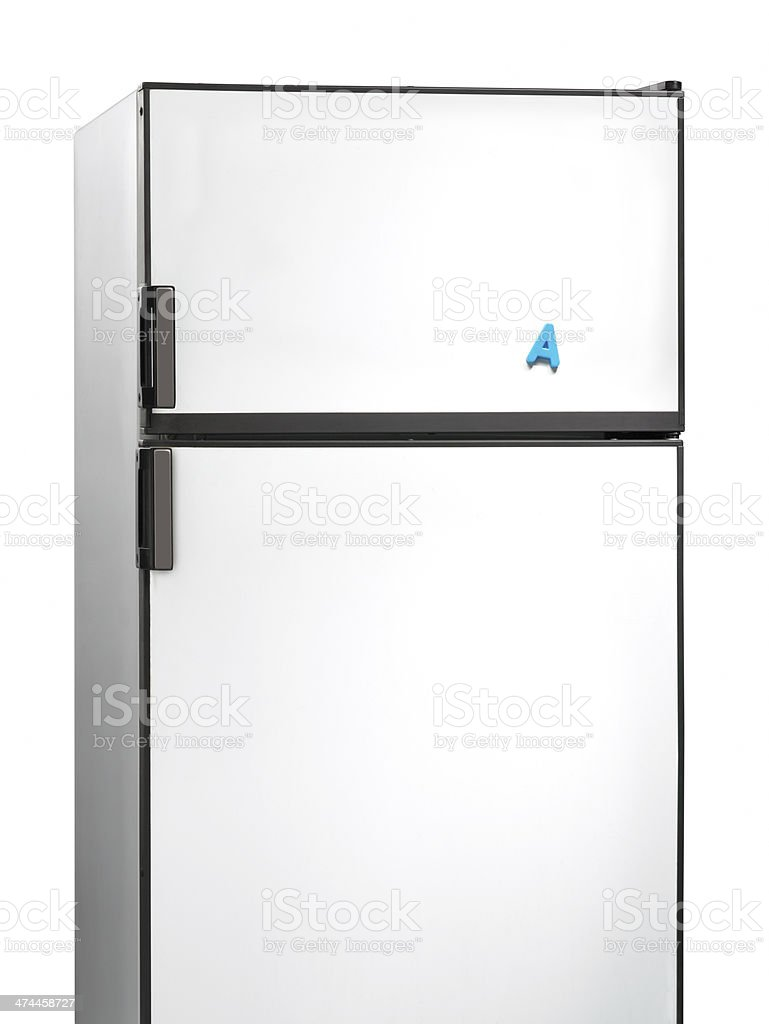 Old fridge with letter A plastic magnet stock photo