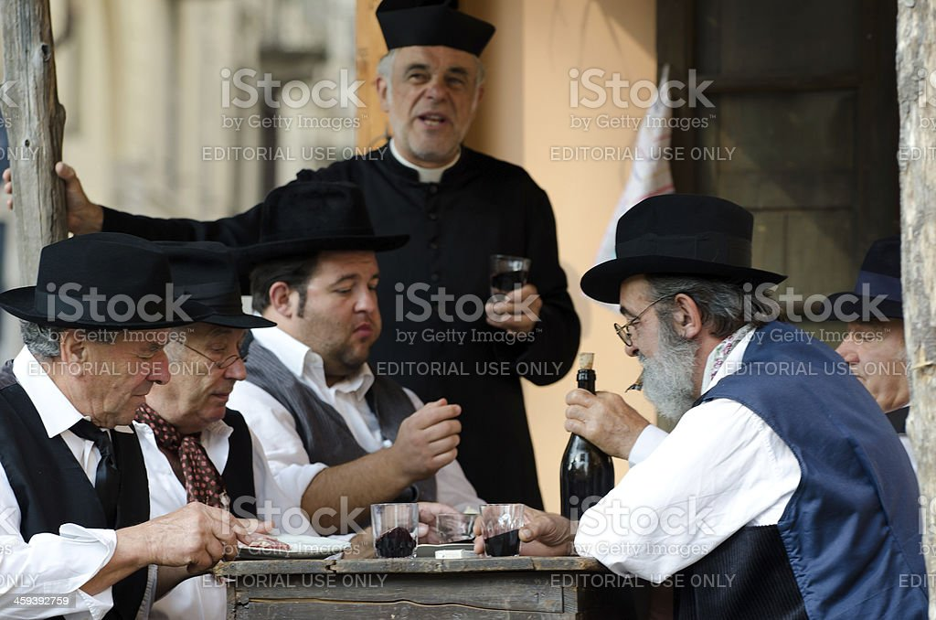 Old friends chatting at the bar royalty-free stock photo