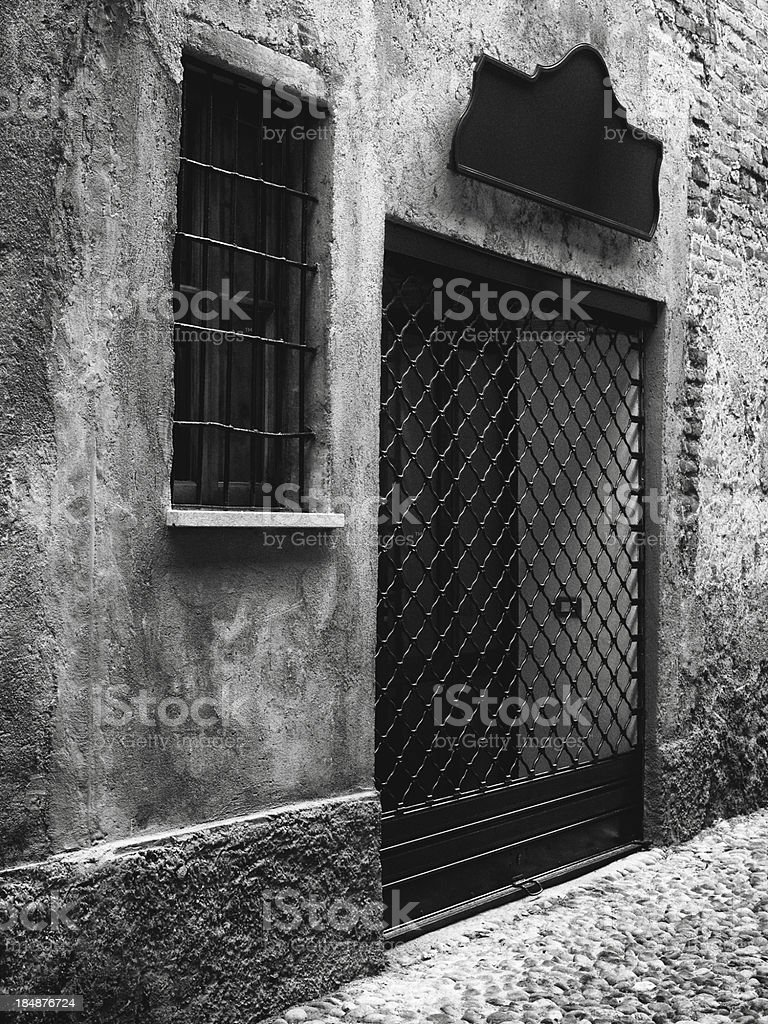 old front Door. Black and White stock photo