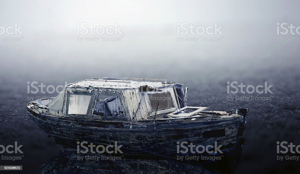Old frozen boat royalty-free stock photo