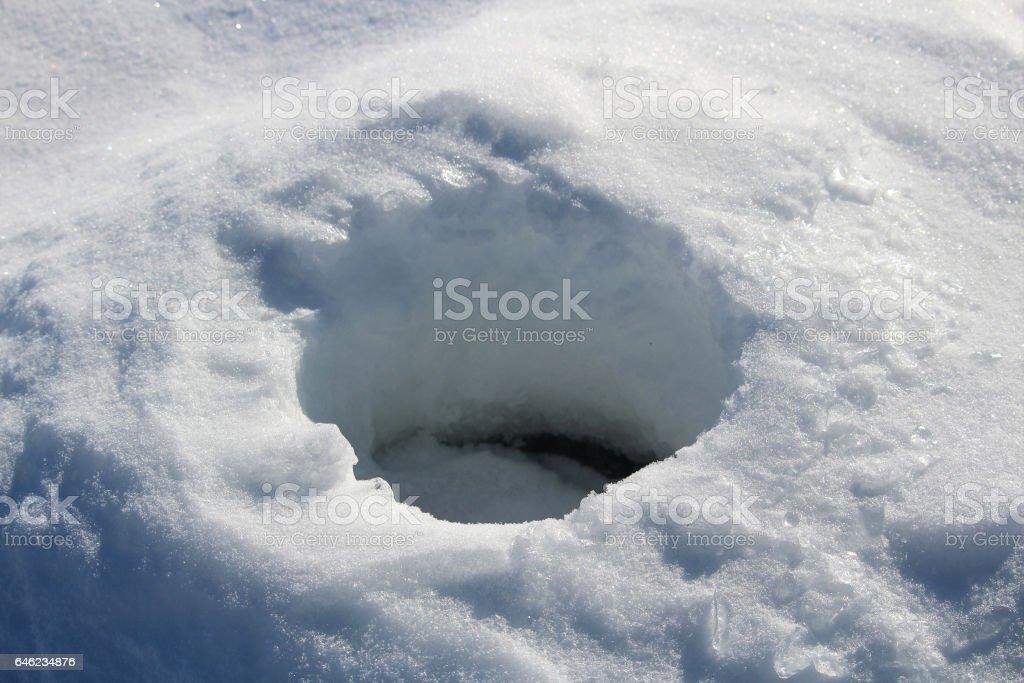 Old Frozen Ice Fishing Hole stock photo