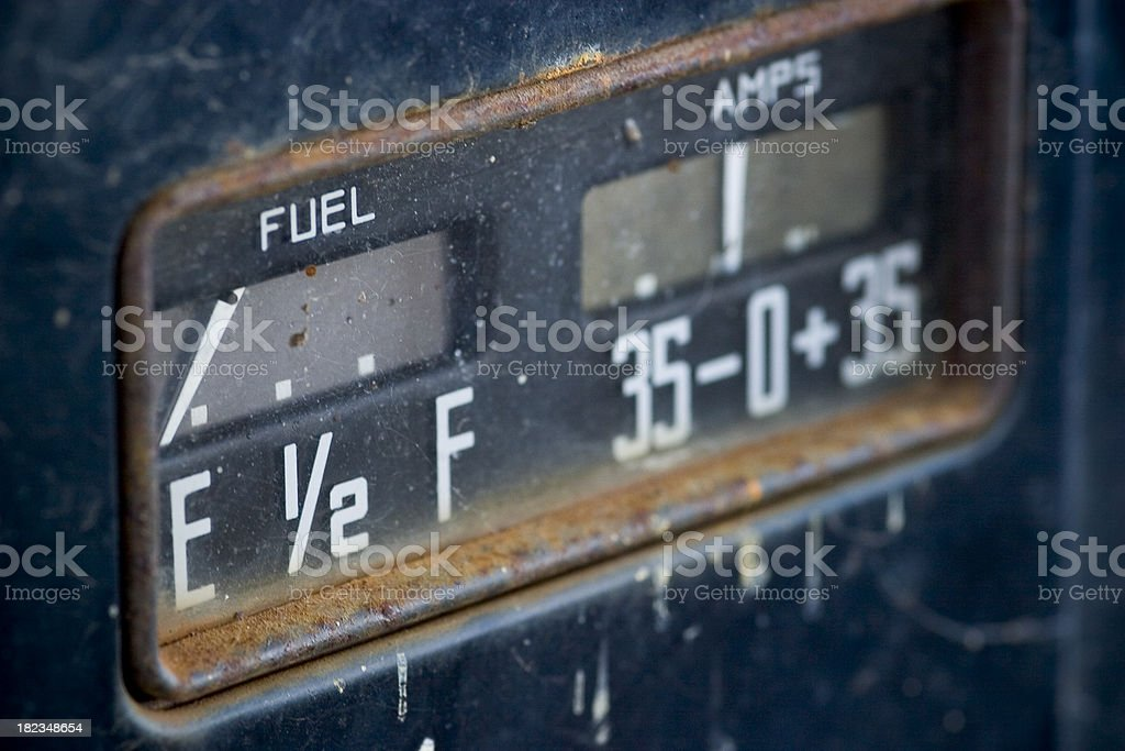 Old fuel meter on Dodge truck royalty-free stock photo