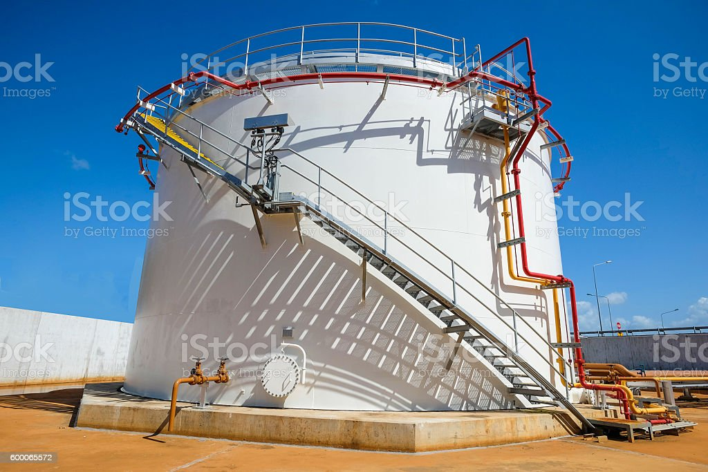 Old fuel oil storage tank in power plant stock photo
