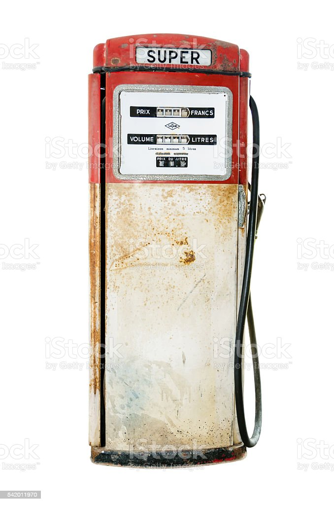 Old fuel pump on white background stock photo