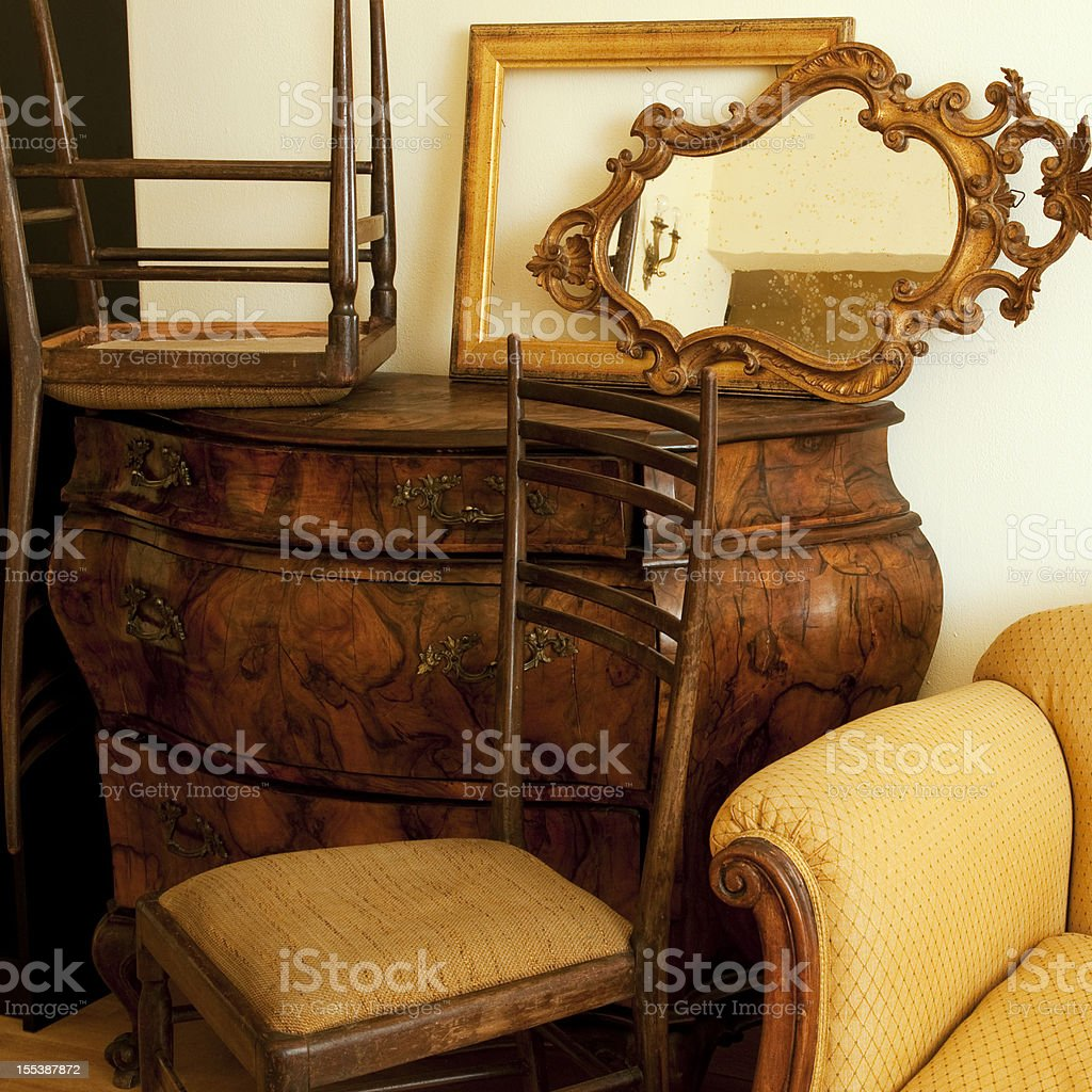 Old Furniture in Antique Shop royalty-free stock photo