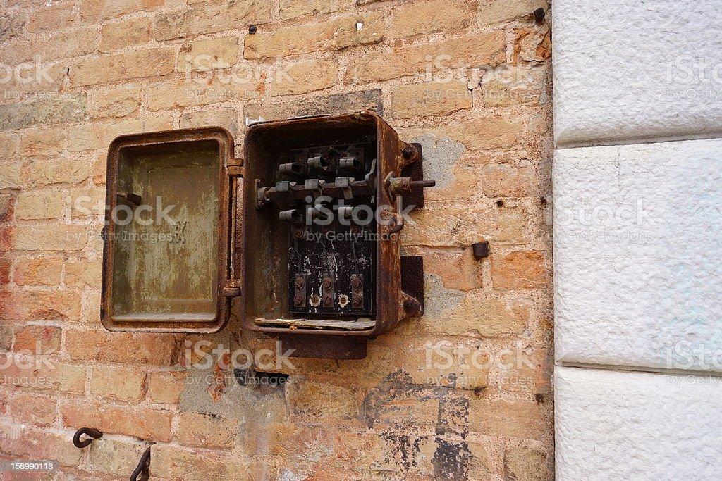 Old fuse box stock photo