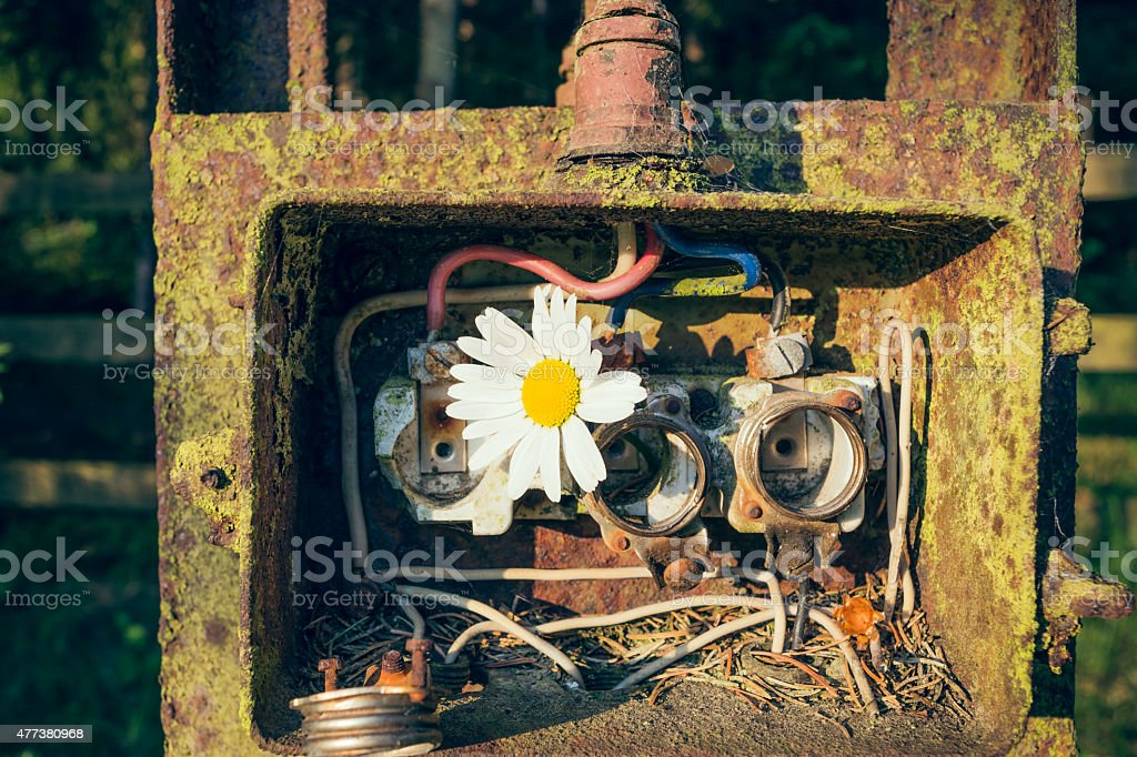 old fuse box stock photo
