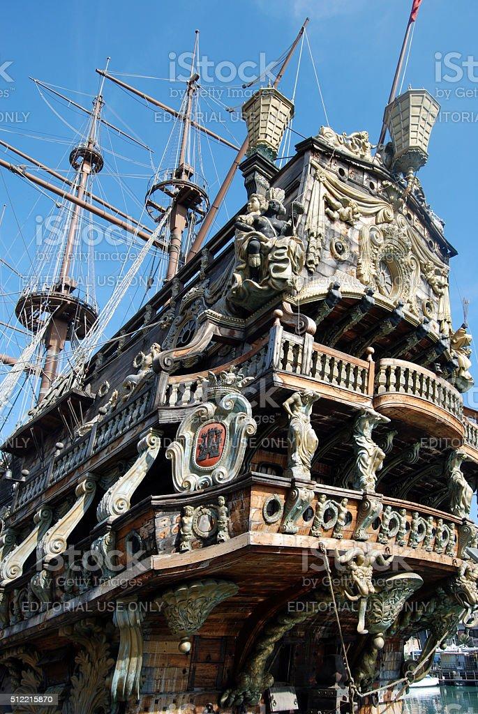 Old galeon, Genova stock photo