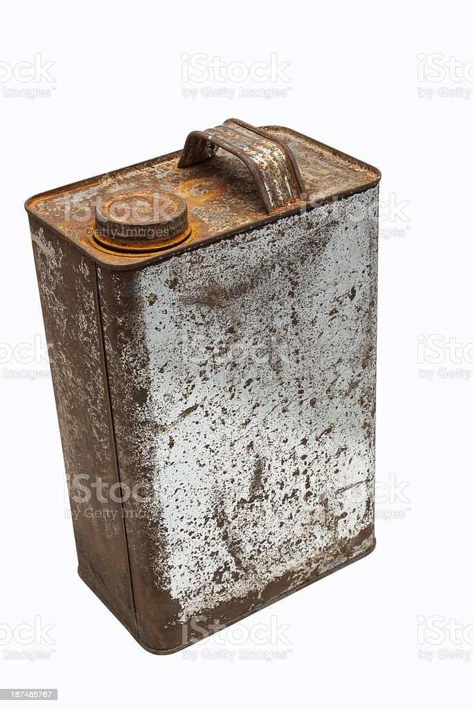 old gallons of oil stock photo