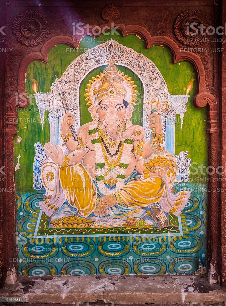 Old ganesha painting in Fort Pokaran Rajasthan India stock photo