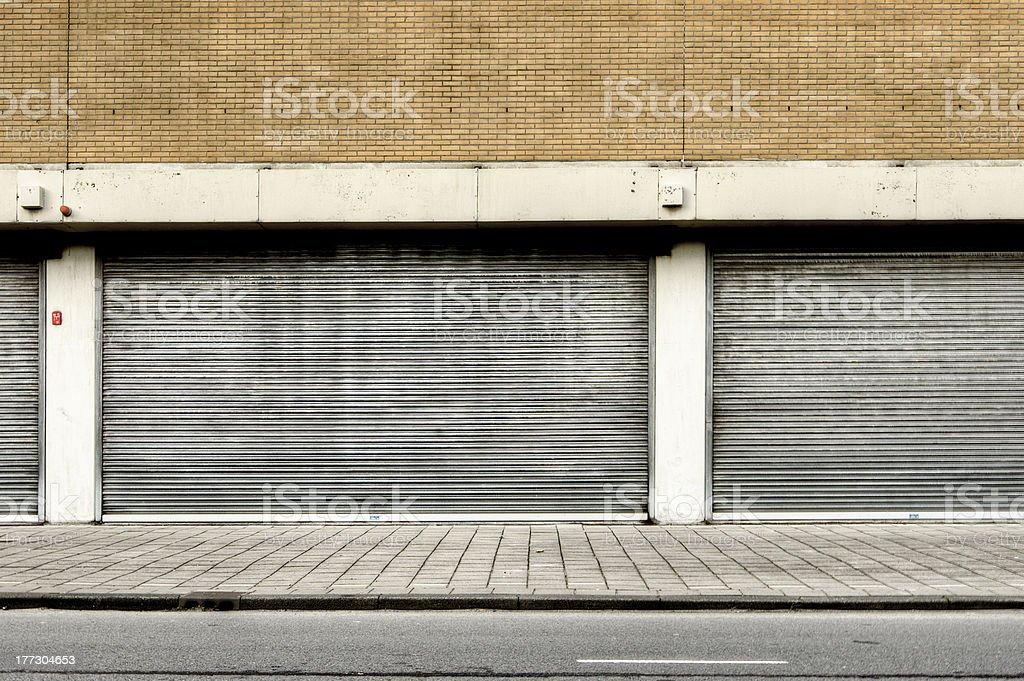 Old garage doors stock photo