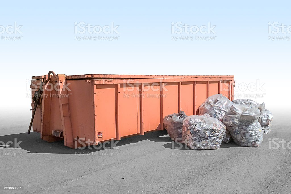 old garbage container stock photo