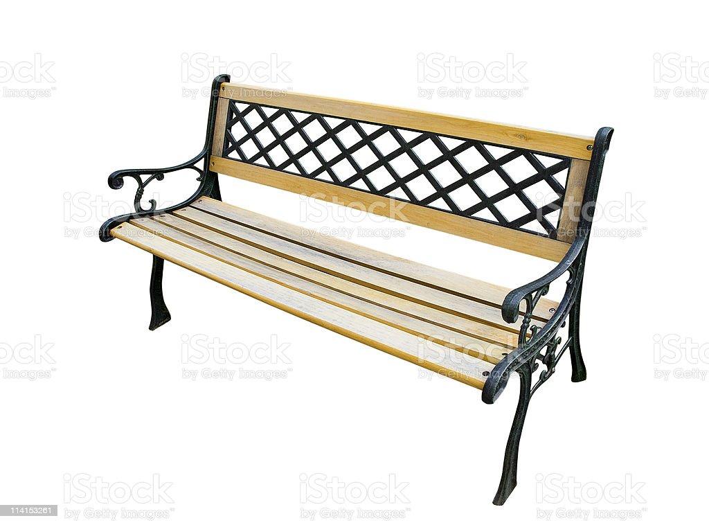 Old garden bench on white stock photo