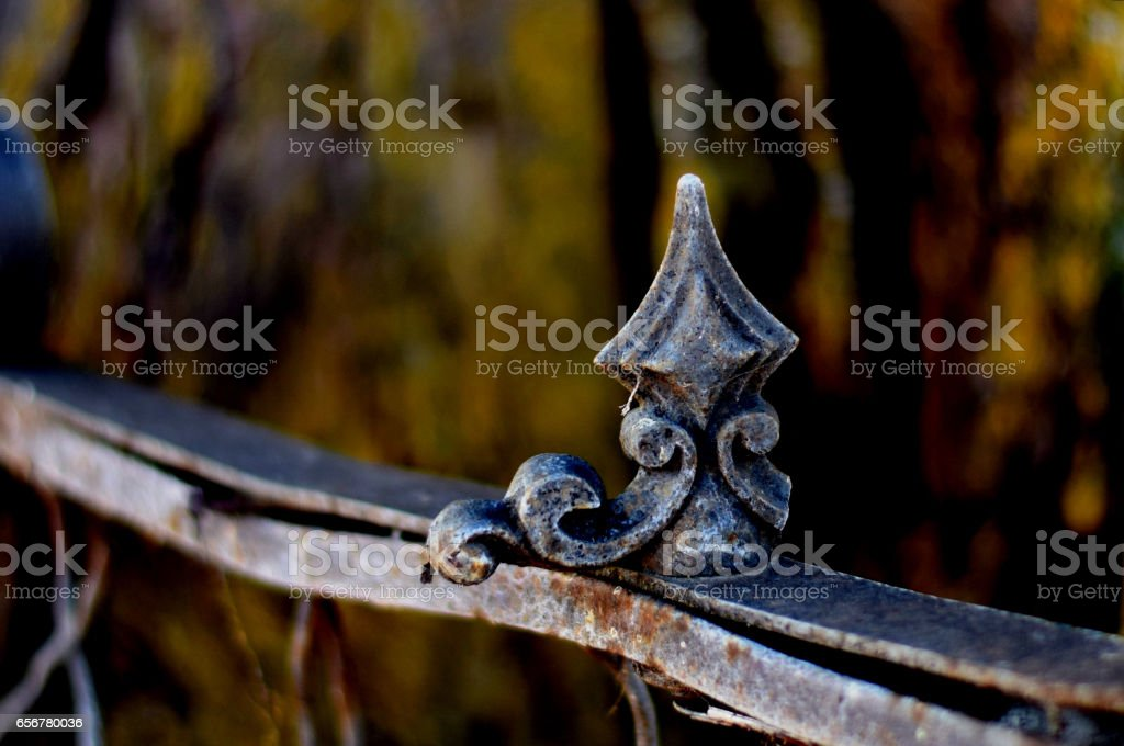 Old garden fence finial stock photo