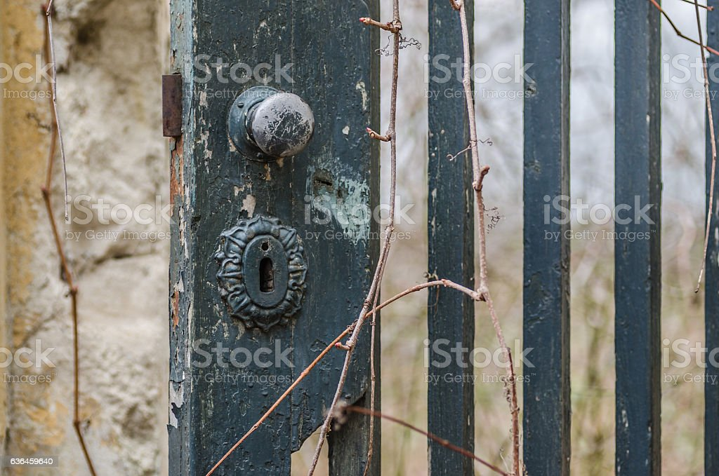 old garden gate stock photo