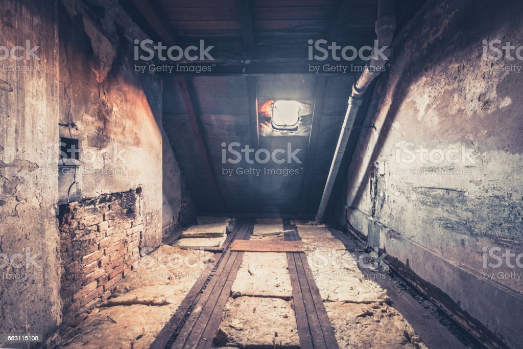 old garret, attic loft / roof construction stock photo