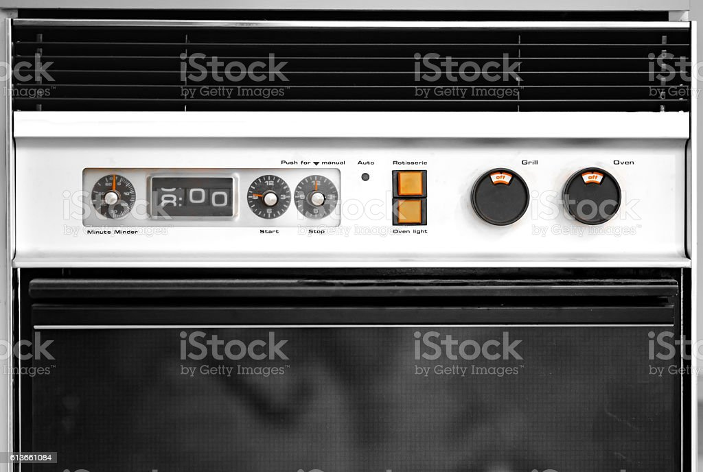 Old gas oven stock photo
