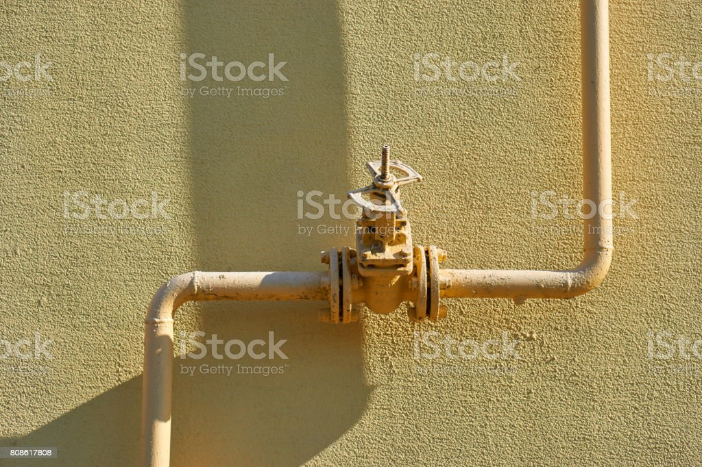 old gas pipe connection stock photo