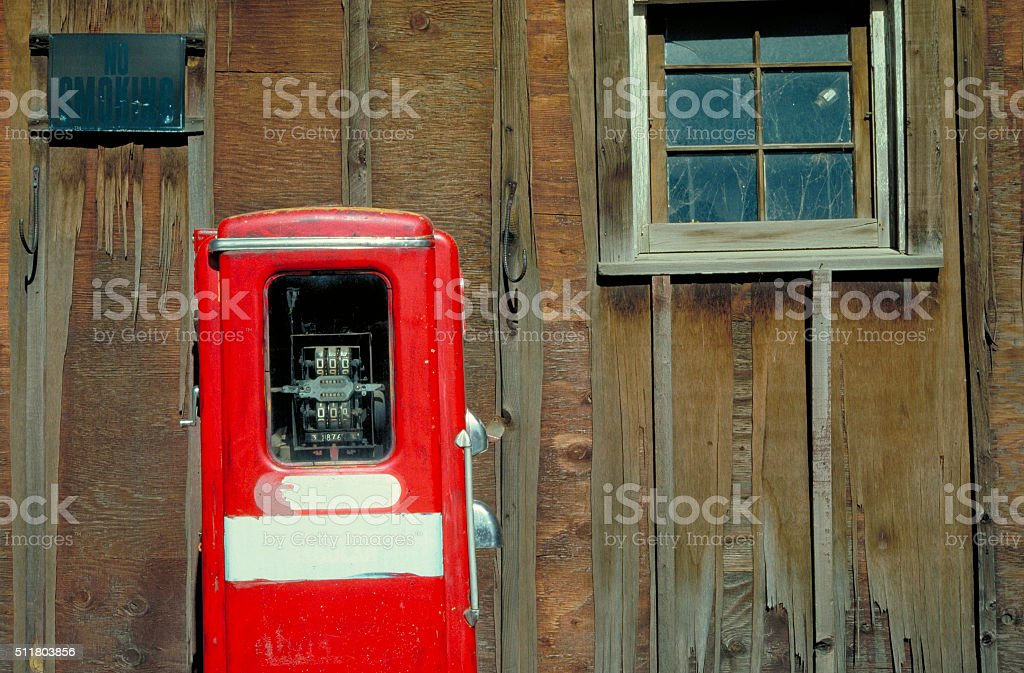 Old Gas Pump in Ghost Town stock photo
