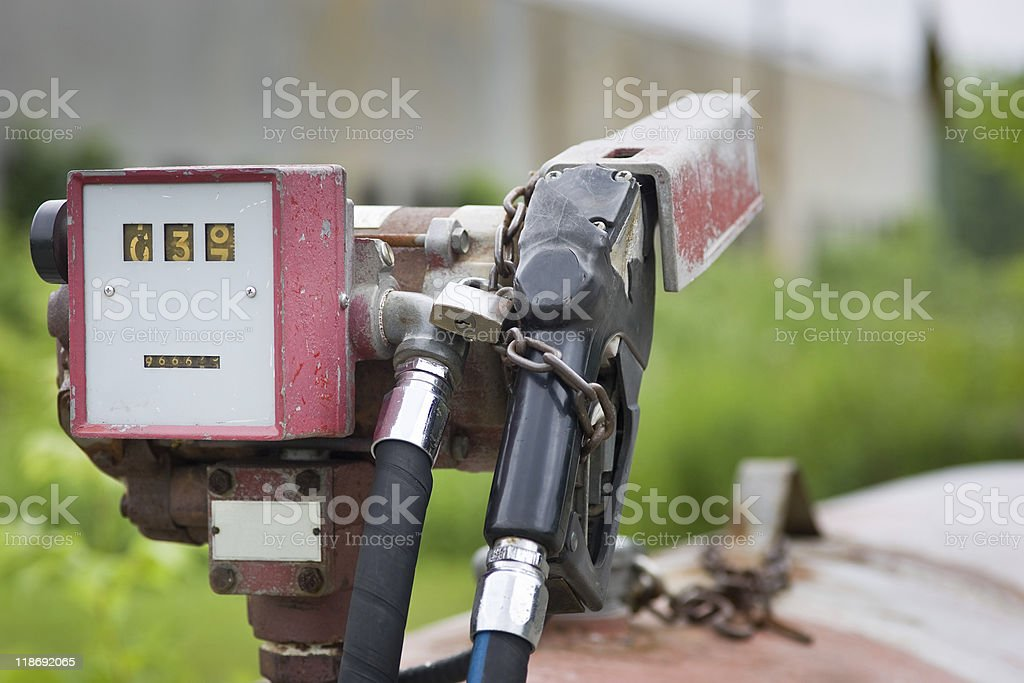Old gas pump with meter all locked up royalty-free stock photo