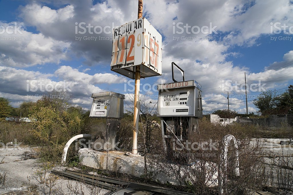 Old Gas Pump With Price Sign royalty-free stock photo