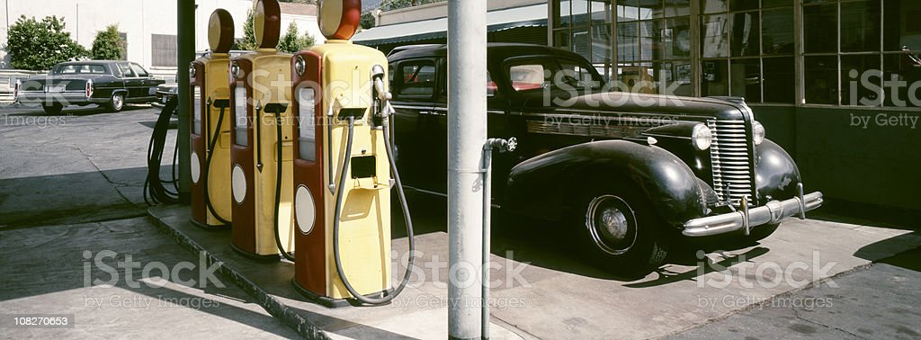 Old Gas Station and Vintage Car royalty-free stock photo