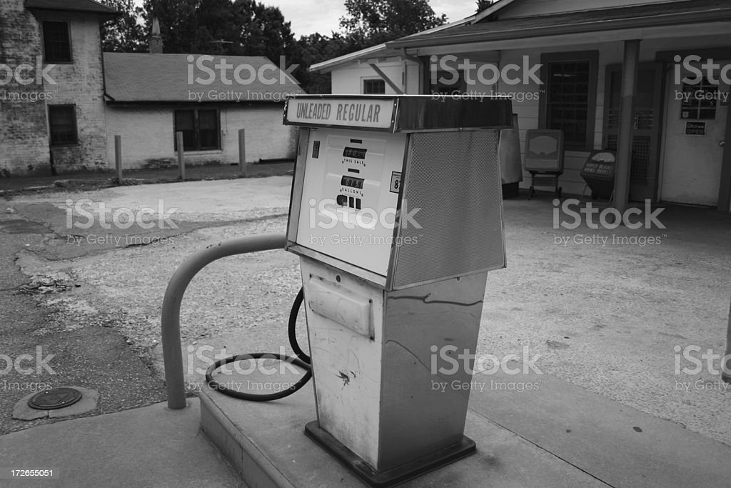 Old Gas Station B/W stock photo
