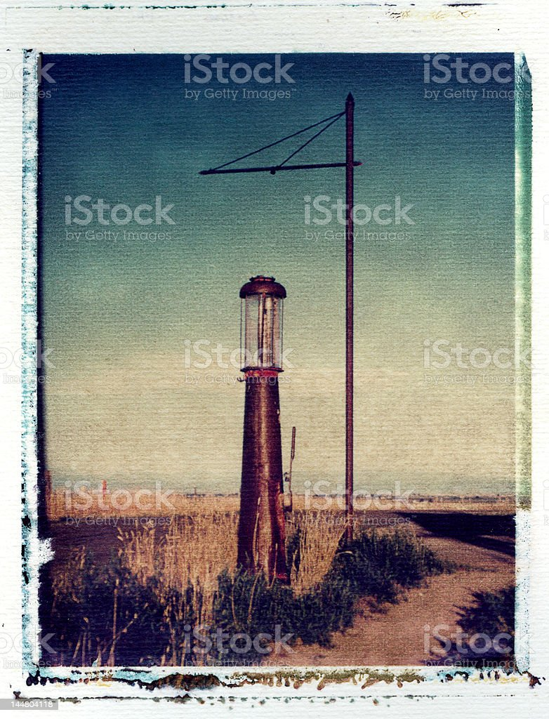 Old gas station on the prairies royalty-free stock photo