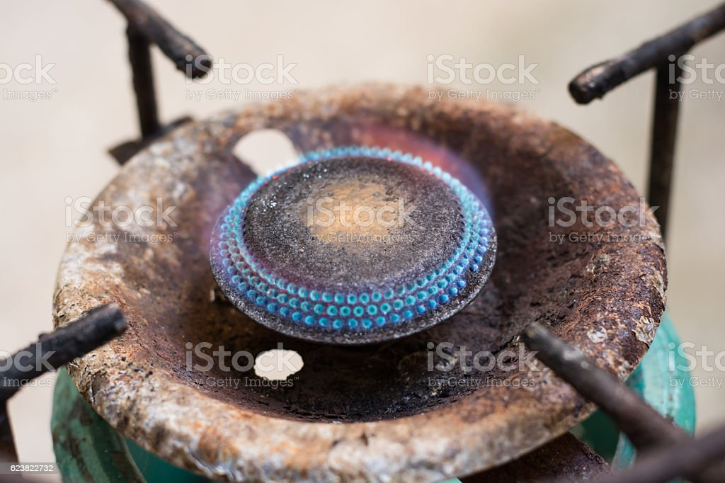 old gas stove is rust stock photo