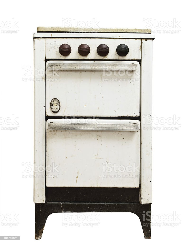 old gas stove stock photo