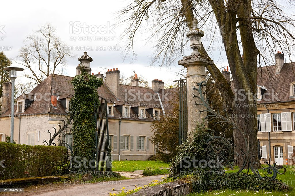 Old gate and entrance to Hospital de la Chartreuse stock photo