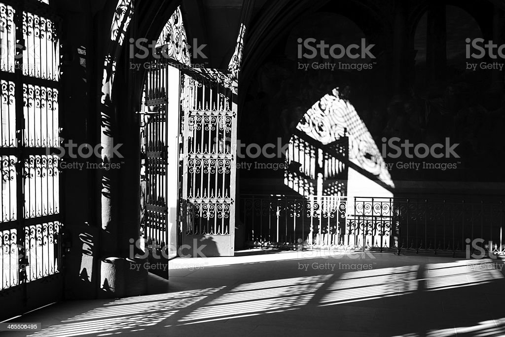 Old gate and shadow - black & white royalty-free stock photo