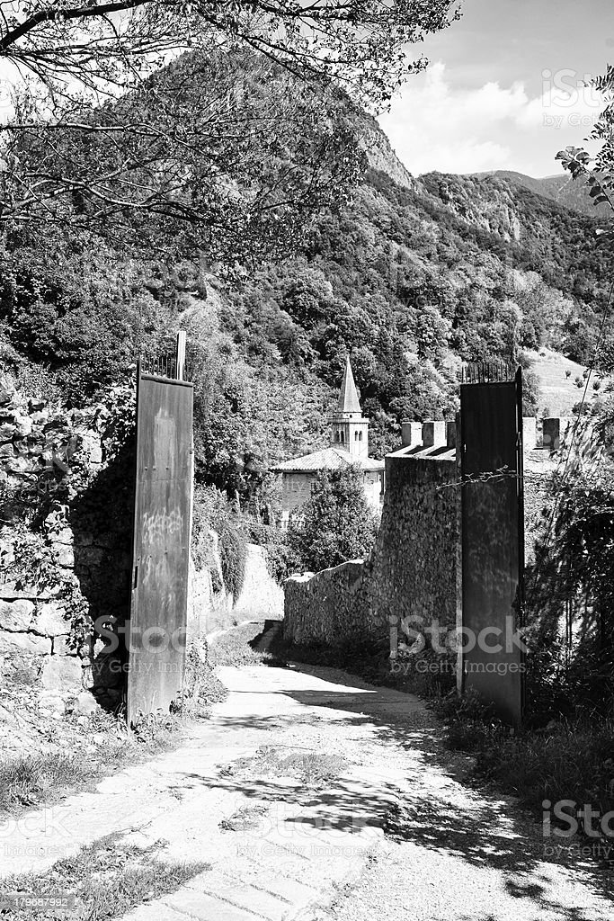 Old Gate. Black and White royalty-free stock photo