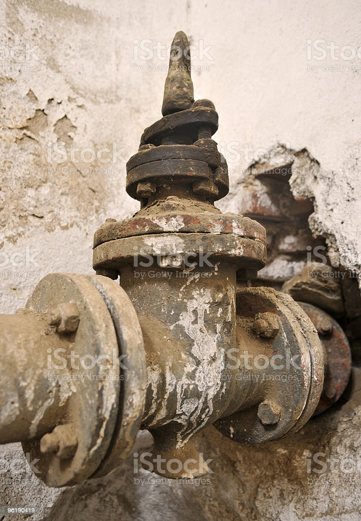 Old Gate Valve at Water Reservoir, Eritrea royalty-free stock photo