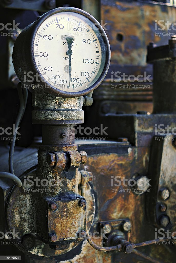 Old gauge on a rusty machine royalty-free stock photo