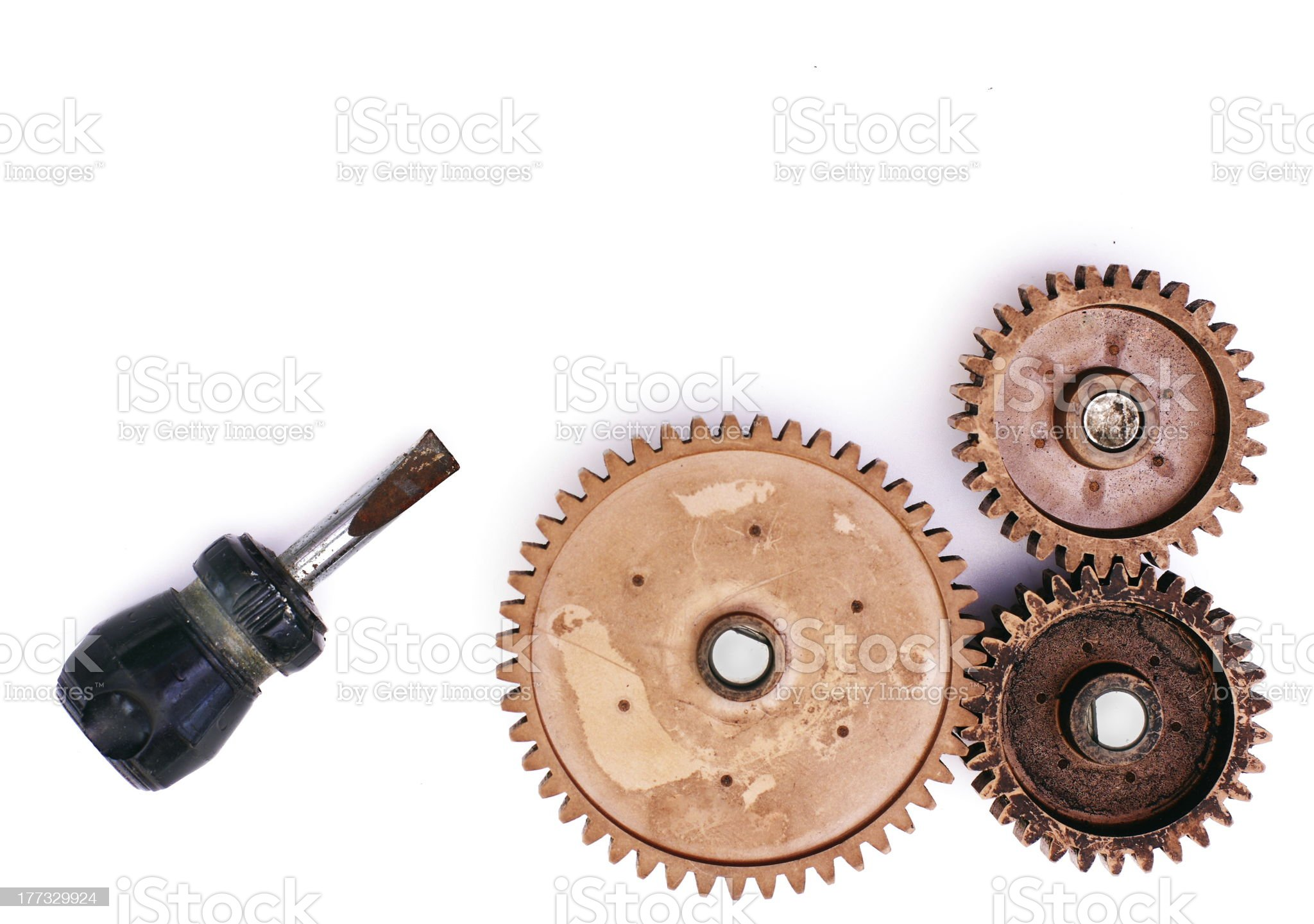 old gear and screwdriver royalty-free stock photo