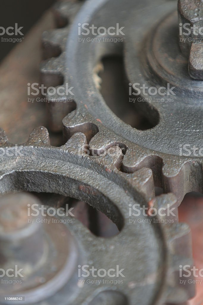 Old gears close up stock photo