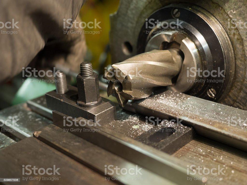Old geen  milling machine, closeup, metalworking stock photo