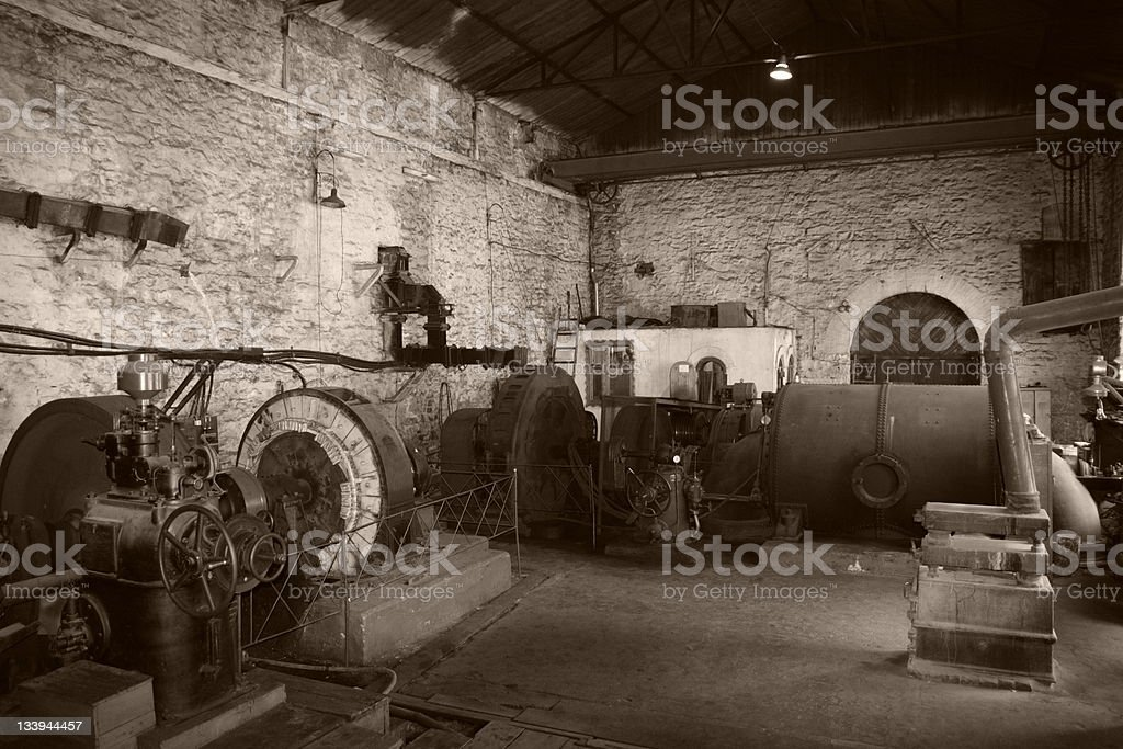 old generator room stock photo