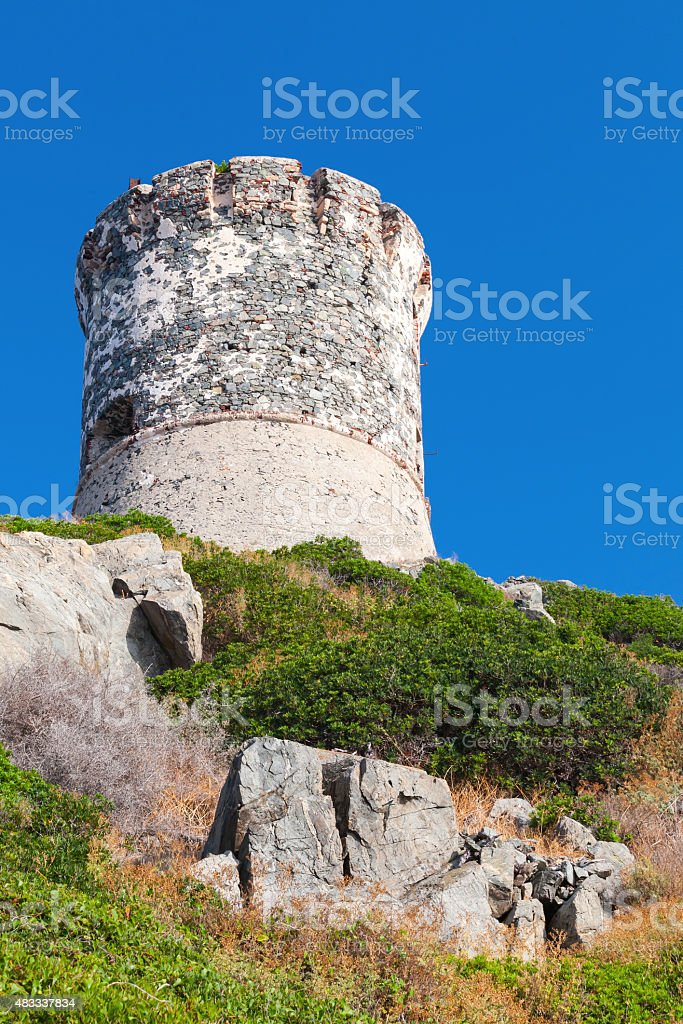 Old Genoese tower, Ajaccio, Corsica, France stock photo