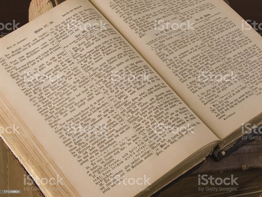 Old German Bible opened to Psalm 38 royalty-free stock photo